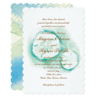 砂ドルのSeafoamの招待状 カード