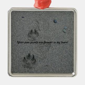 砂ペット記念物の足のプリント メタルオーナメント