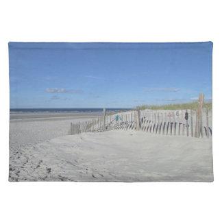 砂丘草および風化させた塀が付いているケープコッドのビーチ ランチョンマット