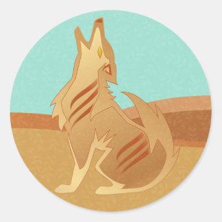 砂岩コヨーテのステッカー ラウンドシール