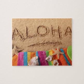 砂浜で、と書かれる単語アロハ ジグソーパズル