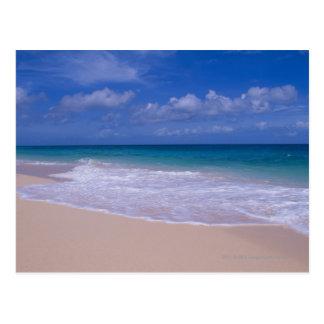 砂浜に泡立つ海洋波 ポストカード