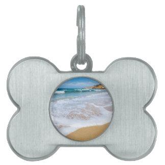 砂浜の海は海岸で山振り、 ペットネームタグ