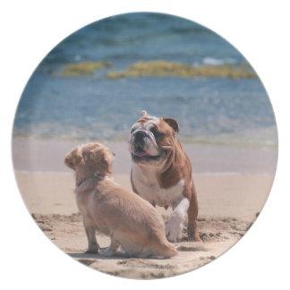 砂浜の犬 プレート