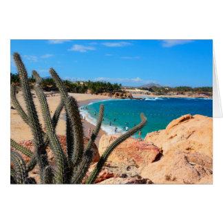 砂浜上の岩が多い丘の頂上のサボテン カード