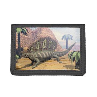 砂漠のエダフォサウルスの恐竜の歩く