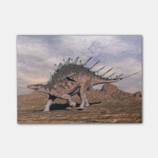 砂漠のケントロサウルスの恐竜- 3Dは描写します ポストイット