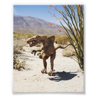 砂漠の恐竜の彫像 フォトプリント