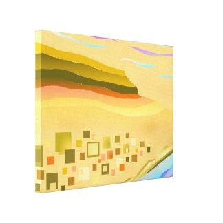 砂漠の抽象美術の細い深さ キャンバスプリント
