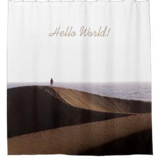 砂漠の海の空の自由の人文字 シャワーカーテン
