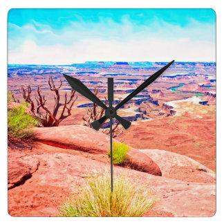 砂漠の眺め スクエア壁時計