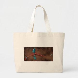 砂漠の赤い蛇のドラゴン ラージトートバッグ