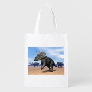 砂漠のDiceratops/nedoceratopsの恐竜 エコバッグ
