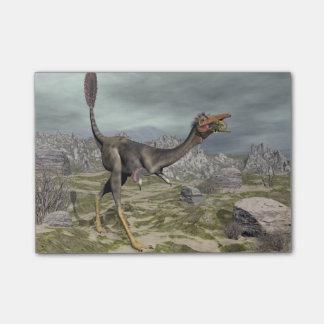 砂漠のMononykusの恐竜- 3Dは描写します ポストイット