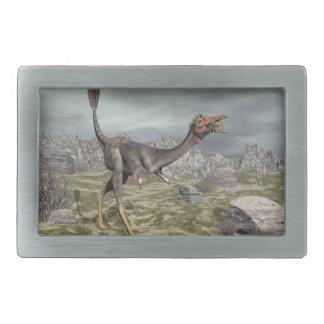砂漠のMononykusの恐竜- 3Dは描写します 長方形ベルトバックル