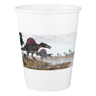 砂漠のSpinosaurusの恐竜- 3Dは描写します 紙コップ