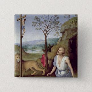砂漠のSt Jerome、c.1499-1502 5.1cm 正方形バッジ