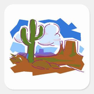 砂漠場面-正方形のステッカー スクエアシール