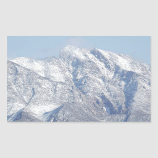砂漠山の雪 長方形シール