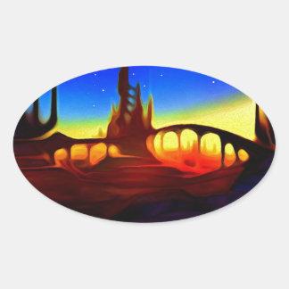 砂漠都市 楕円形シール