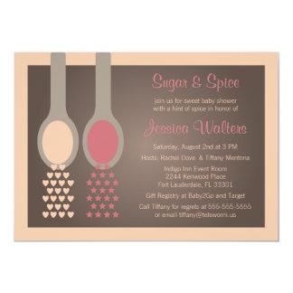 砂糖およびスパイスのベビーシャワー招待状 カード