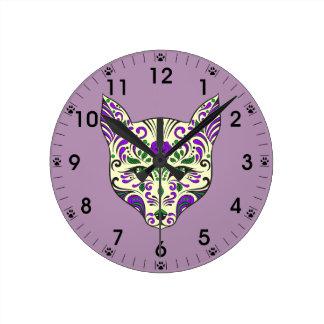 砂糖のスカルのオオカミの頭部の緑の紫色 ラウンド壁時計