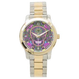 砂糖のスカルのネオンのピンク 腕時計