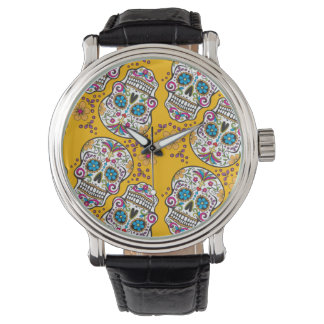 砂糖のスカルのハロウィンの黄色 腕時計