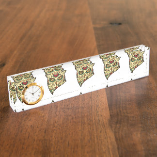 砂糖のスカルのフクロウ-入れ墨のデザイン デスクネームプレート