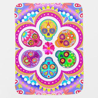 砂糖のスカルのベビーブランケット-カラフルな芸術 ベビー ブランケット
