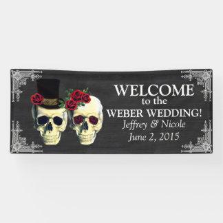 砂糖のスカルの新郎新婦の結婚式の旗 横断幕