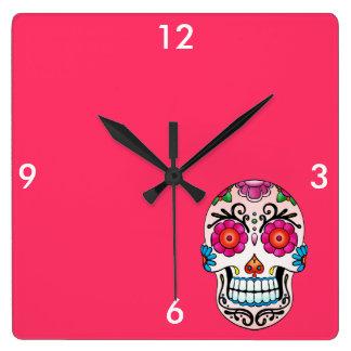 砂糖のスカル-入れ墨の芸術 スクエア壁時計