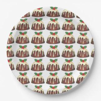 砂糖のプラムプディングのクリスマス夕食の休日のプレート ペーパープレート