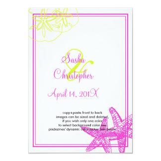 砂+海かライムグリーン+fuschia/の結婚式招待状 カード