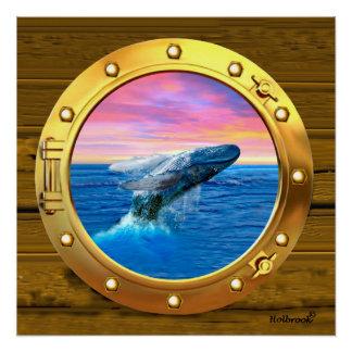 破るクジラの蒸気口の眺め ポスター