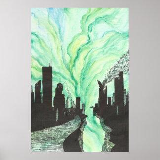 破壊された都市スカイライン ポスター