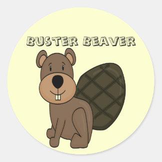 破壊者ビーバーのおもしろいのステッカー 丸形シール・ステッカー