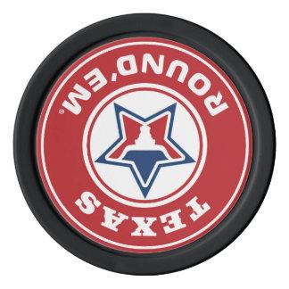 破片の上のテキサス州の円形のthem® ポーカーチップ