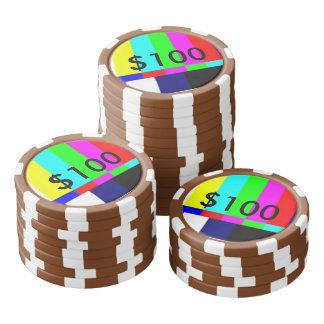 破片$100を遊ぶ古い学校TVのトランプのポーカー ポーカーチップセット