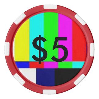 破片$5を遊ぶ古い学校TVのトランプのポーカー ポーカーチップセット