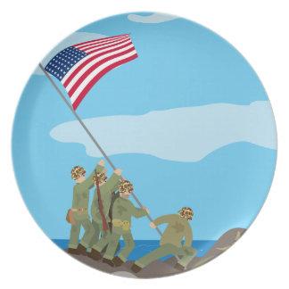 硫黄島WWIIの旗の上昇 プレート