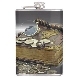 硬貨の宝物コレクターの本、銀、リング フラスク