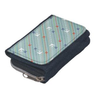 硬貨の財布が付いているレトロの飛行機パターンデニムの財布
