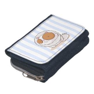 硬貨の財布が付いている大きい目破片猫デニムの財布