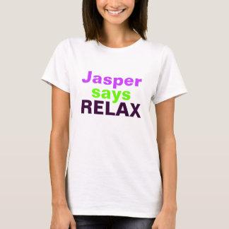 碧玉はリラックスします言います(ショッキングピンクおよび緑) Tシャツ