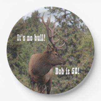 碧玉、アルバータの第50誕生日のBullのオオシカ ペーパープレート