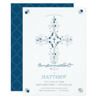 確認の招待状-カトリック教式の招待 12.7 X 17.8 インビテーションカード