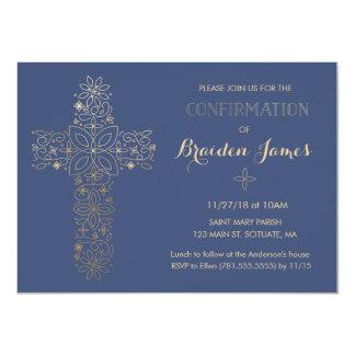 確認の招待状-金ゴールドの十字の招待 カード