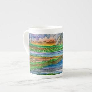 磁器のコップの限定版の水彩画 ボーンチャイナカップ