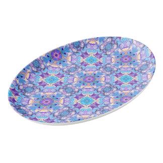 磁器の大皿の青およびラベンダーパターン 磁器大皿
